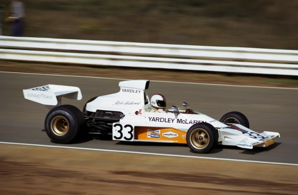 Mike Hailwood (GBR) McLaren M23 claimed his second and final podium finish when he took third place. South African Grand Prix, Kyalami, 30 March 1974. BEST IMAGE