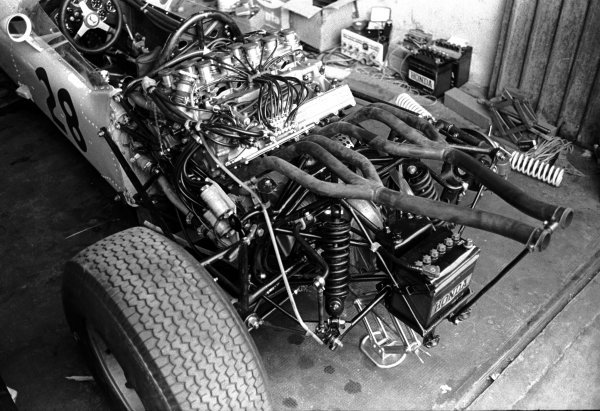 The V12 engine and exhaust of the Honda RA271, piloted by Ronnie Bucknum (USA).