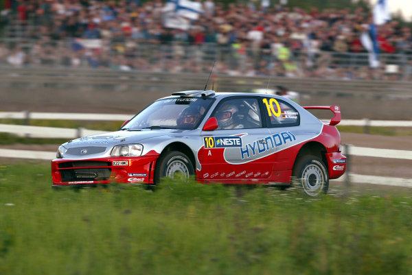 2003 FIA World Rally Champs. Round nine, Neste Rally Finland. Rally7th-10th August 2003.Armin Schwarz, Hyundai, Action. World Copyright: McKlein/LAT