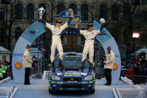 2005 FIA World Rally Champs. Round two Swedish Rally.10th-13th February 2005.PWRC Driver Toshi Arai, Subaru, podium.World Copyright: McKlein/LAT