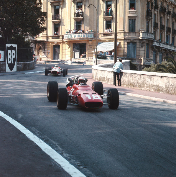 Monte Carlo, Monaco.4-7 May 1967.Lorenzo Bandini (Ferrari 312) leads John Surtees (Honda RA273). Bandini later crashed suffering fatal injuries.Ref-3/2801.World Copyright - LAT Photographic