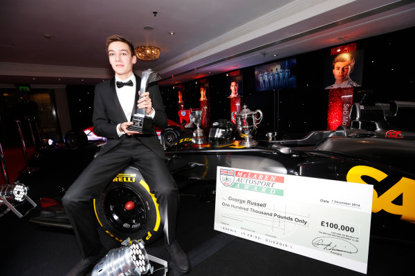 2014 Autosport Awards. Grosvenor House Hotel, Park Lane, London. Sunday 7 December 2014. George Russell wins the 2014 McLaren AUTOSPORT BRDC Award. World Copyright: Sam Bloxham/LAT Photographic. ref: Digital Image _14P4026