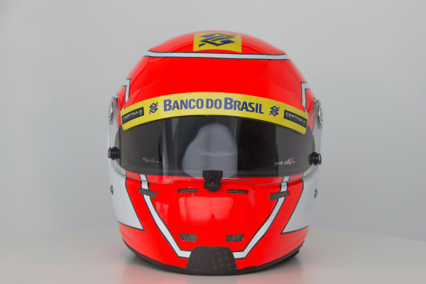 Hinwil, Switzerland. Thursday 29 January 2015. Helmet of Felipe Nasr, Sauber.  World Copyright: Sauber F1 Team (Copyright Free FOR EDITORIAL USE ONLY) ref: Digital Image 2015_SAUBER_HELMET_04