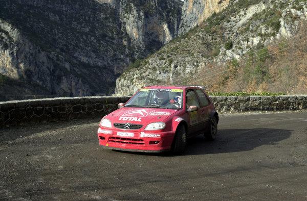 2001 World Rally Championship. Monte Carlo Rally,  Monaco. 18th -21st January 2001. Rd 1. Philippe Bugalski, Citroen Saxo, action. World Copyright: Ralph Hardwick/ LAT Photographic. Ref: Bugalski1