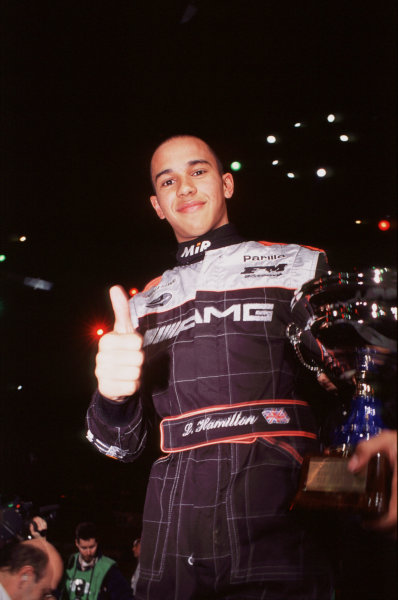 2000 Elf Masters Karting Bercy Paris, France. 10th December 2000. Lewis Hamilton, 1st position, portrait. World Copyright: Chris Dixon/LAT Photographic