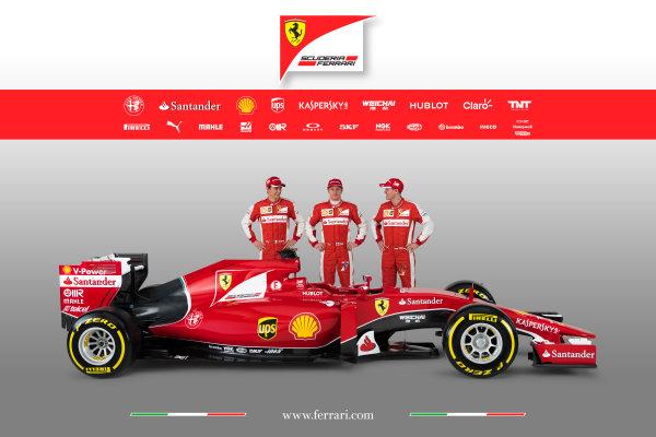 Ferrari SF-15T Reveal 30 January 2015 Esteban Gutierrez, Kimi Raikkonen and Sebastian Vettel with the new Ferrari SF-15T. Photo: Ferrari (Copyright Free FOR EDITORIAL USE ONLY) ref: Digital Image 150002eve