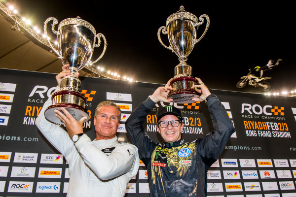 2018 Race Of Champions King Farhad Stadium, Riyadh, Abu Dhabi. Saturday 3 February 2018 David Coulthard (GBR) celebrates his win with Petter Solberg (NOR) on the podium. Copyright Free FOR EDITORIAL USE ONLY. Mandatory Credit: 'Race of Champions'