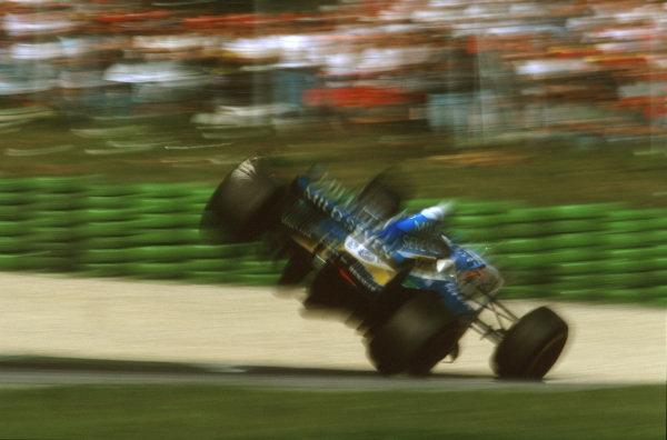 A1-Ring, Zeltweg, Austria.19-21 September 1997.Jean Alesi (Benetton B197 Renault) flies in the air after being hit by Eddie Irvine (Ferrari) on lap 37.Ref-97 ITA 03.World Copyright - LAT Photographic