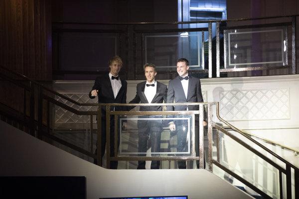 2017 Autosport Awards Grosvenor House Hotel, Park Lane, London. Sunday 3 December 2017. WEC Champions Brendon Hartley, Timo Bernhard and Earl Bamber arrive. World Copyright: Zak Mauger/LAT Images  ref: Digital Image _O3I6511