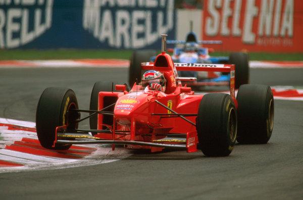 Monza, Italy.5-7 September 1997.Michael Schumacher (Ferrari F310B) 6th position at the Rettifilo chicane.Ref-97 ITA 17.World Copyright - LAT Photographic