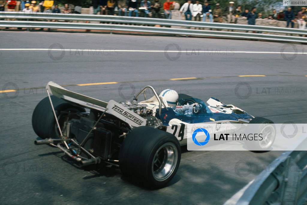 1971 Spanish Grand Prix.  Montjuich Park, Barcelona, Spain. 16-18th April 1971.  John Surtees, Surtees TS9 Ford, 11th position.  Ref: 71ESP65. World Copyright: LAT Photographic