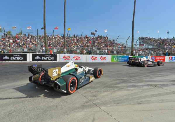 "11-13 April, 2014, Long Beach, California USA #20 Mike Conway Fuzzy""s Vodka/ Ed Carpenter Racing, race winner following Will Power out of hairpin ©2014, Dan R. Boyd Lat Photo USA"