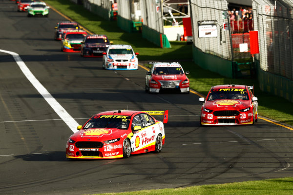 Australian Supercars Series Albert Park, Melbourne, Australia. Friday 24 March 2017. Race 2. Fabian Coulthard, No.12 Ford Falcon FG-X, Shell V-Power Racing Team, leads Scott McLaughlin, No.17 Ford Falcon FG-X, Shell V-Power Racing Team, and Michael Caruso, No.23 Nissan Altima, Nissan Motorsport and Team Harvey Norman. World Copyright: Zak Mauger/LAT Images ref: Digital Image _56I5878