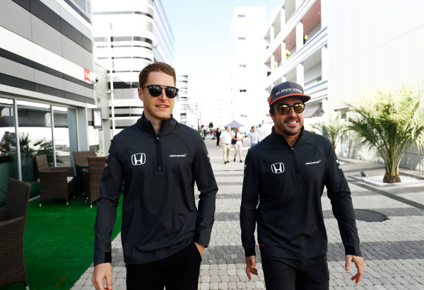 Sochi Autodrom, Sochi, Russia. Thursday 27 April 2017. Stoffel Vandoorne, McLaren, and Fernando Alonso, McLaren.  World Copyright: Steven Tee/LAT Images ref: Digital Image _R3I0870