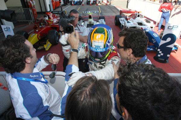 Silverstone, England. 11th July.Sunday Race. Sergio Perez (MEX, Barwa Addax Team) celebrates his victory. Photo: Jakob Ebrey/GP2 Media Service.Ref: _MKO_9299 jpg