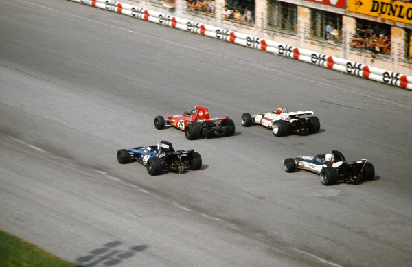 Monza, Italy. 3 - 5 September 1971.Ronnie Peterson (March 711-Ford), 2nd position, leads Jo Siffert (B.R