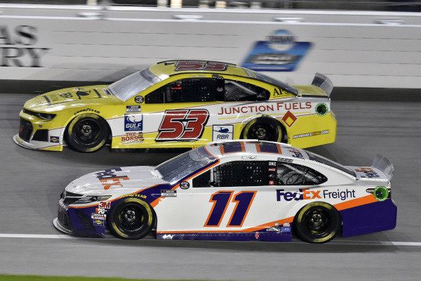 #11: Denny Hamlin, Joe Gibbs Racing, FedEx Office Toyota Camry and #53: Josh Bilicki, Rick Ware Racing, Chevrolet Camaro