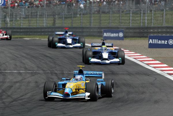 2002 European Grand Prix - Sunday RaceNurburgring, Germany. 23rd June 2002.Jarno Trulli, Renault R202, leads Felipe Massa, Sauber Petronas C21, and Nick Heidfeld, action.World Copyright: LAT Photographic.ref: Digital Image Only