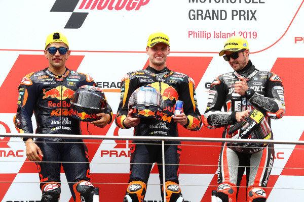 Podium: race winner Jorge Martin, KTM Ajo, second place Brad Binder, KTM Ajo, third place Thomas Luthi, Intact GP