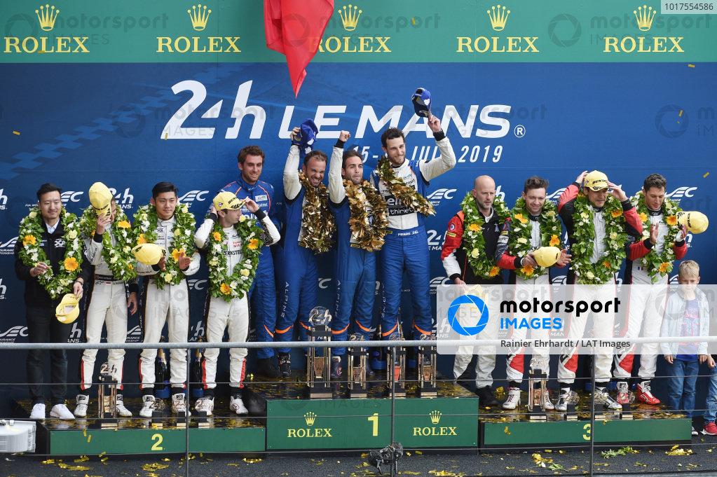 LMP2 podium: Winners #36 Signatech Alpine Matmut Alpine A470: Nicolas Lapierre, Andre Negrao, Pierre Thiriet, second place #38 Jackie Chan DC Racing Ligier JSP217 Gibson: Ho-Pin Tung, Stéphane Richelmi, Gabriel Aubry, third place #28 TDS Racing Oreca 07 Gibson: François Perrodo, Matthieu Vaxiviere, Loic Duval