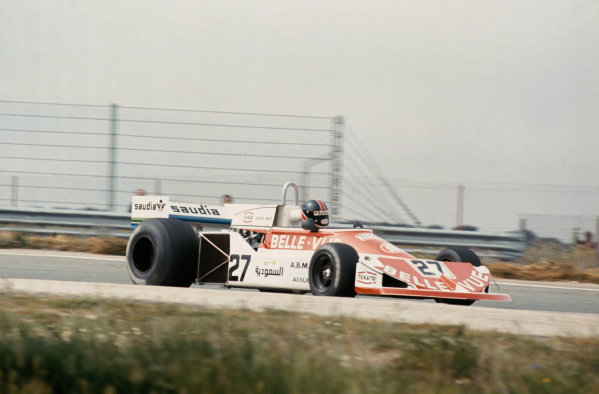 Jarama, Spain. 6-8th May 1977. Patrick Neve, March 761 Ford, 12th position. First race for Williams Grand Prix Engineering.  Ref: 77ESP36. World Copyright: LAT Photographic