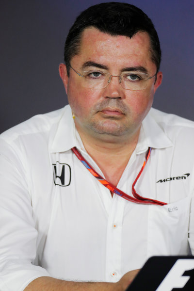 Baku City Circuit, Baku, Azerbaijan. Friday 23 June 2017. Eric Boullier, Racing Director, McLaren, in the Team Principals' Press Conference. World Copyright: Zak Mauger/LAT Images ref: Digital Image _54I0950