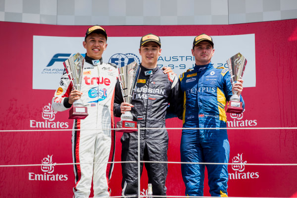 2017 FIA Formula 2 Round 5. Red Bull Ring, Spielberg, Austria. Sunday 9 July 2017. Alexander Albon (THA, ART Grand Prix), Artem Markelov (RUS, RUSSIAN TIME) and Oliver Rowland (GBR, DAMS).  Photo: Zak Mauger/FIA Formula 2. ref: Digital Image _54I0430