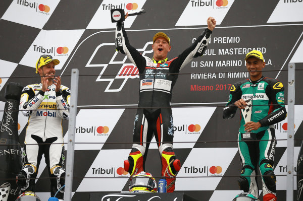 2017 Moto2 Championship - Round 13 Misano, Italy. Sunday 10 September 2017 Podium: race winner Dominique Aegerter, Kiefer Racing, second place Thomas Luthi, CarXpert Interwetten, third place Hafizh Syahrin, Petronas Raceline Malaysia World Copyright: Gold and Goose / LAT Images ref: Digital Image 7889