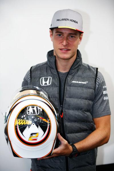 Spa Francorchamps, Belgium.  Thursday 24 August 2017. Stoffel Vandoorne, McLaren, shows off a new helmet design. World Copyright: Andy Hone/LAT Images  ref: Digital Image _ONY3037