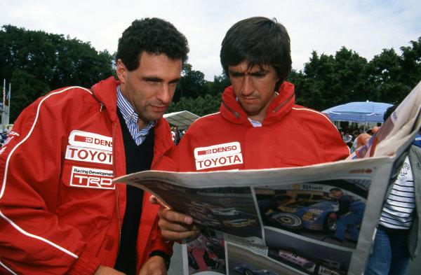 (L to R): Roland Ratzenberger (AUT) Toyota Team SARD and team mate Pierre-Henri Raphanel (FRA).Le Mans 24 Hours, Le Mans, France, 16-17 June 1990.