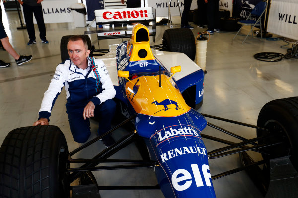 Williams 40 Event Silverstone, Northants, UK Friday 2 June 2017. Paddy Paddy Lowe, Williams Martini Racing Formula 1. poses with the FW14B Renault. World Copyright: Sam Bloxham/LAT Images ref: Digital Image _W6I6826