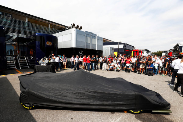 Autodromo Nazionale di Monza, Italy. Thursday 31 August 2017 The new 2018 F2 car ready to unveil in the paddock. Photo: Sam Bloxham/FIA Formula 2 ref: Digital Image _W6I1966