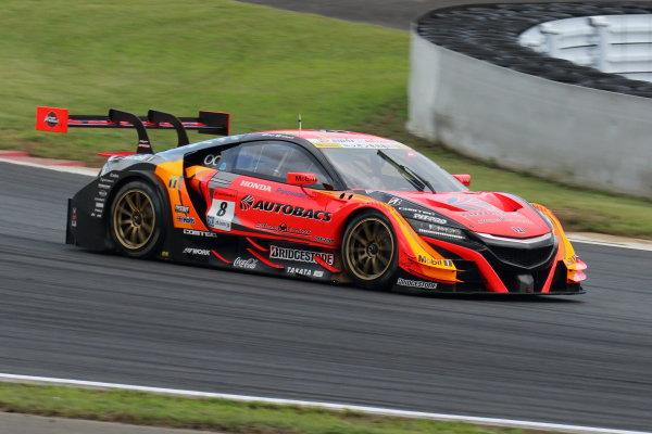 2017 Japanese Super GT Series. Fuji, Japan. 5th - 6th August 2017. Rd 5. GT500 Winner Tomoki Nojiri & Takashi Kobayashi ( #8 ARTA NSX-GT ) action World Copyright: Yasushi Ishihara / LAT Images. Ref: 2017JSGT_Rd5_002