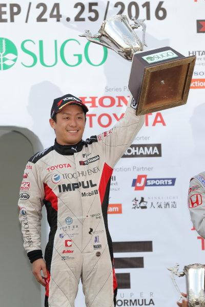 2016 Japanese Super Formula. Sugo, Japan. 24th - 25th September 2016. Rd 6. Winner Yuhi Sekiguchi ( #20 ITOCHU ENEX TEAM IMPUL SF14 ) podium, portrait World Copyright : Yasushi Ishihara/LAT Photographic Ref : 2016SF_Rd6_SUGO_010