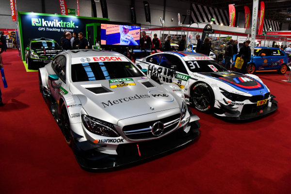 Autosport International Exhibition. National Exhibition Centre, Birmingham, UK. Thursday 11th January 2018. A DTM BMW and Mercedes on display.World Copyright: Mark Sutton/Sutton Images/LAT Images Ref: DSC_7729
