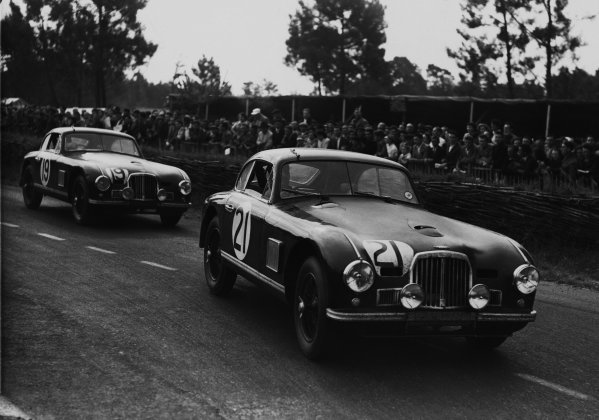 Le Mans, France. 24 - 25 June 1950. Charles Brackenbury/Reg Parnell (Aston Martin DB2), 6th position, leads George Abecassis/Lance Macklin (Aston Martin DB2), 5th position, action. World Copyright - LAT Photographic. Ref:  Autocar Glass Plate C27273