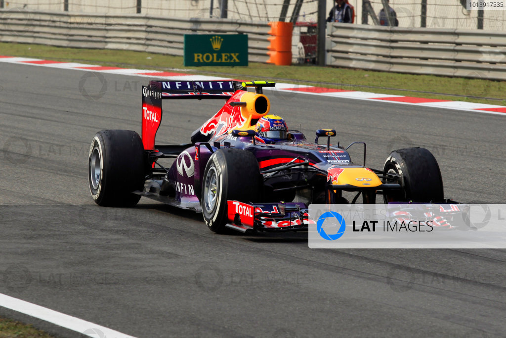 Shanghai International Circuit, Shanghai, China Sunday 14th April 2013 Mark Webber, Red Bull RB9 Renault.  World Copyright: Charles Coates/LAT Photographic ref: Digital Image _X5J1858