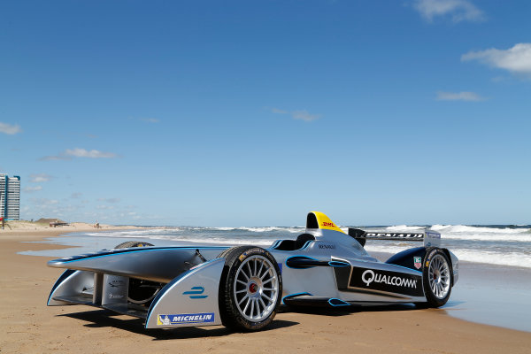 FIA Formula E Test Day. Formula E Car on the beach. Punta Del Este, Uruguay, South America. Formula E Third Race Event, 11th - 14th December 2014. Sunday 14 December 2014.  Photo: Adam Warner/LAT/FE ref: Digital Image _L5R5199