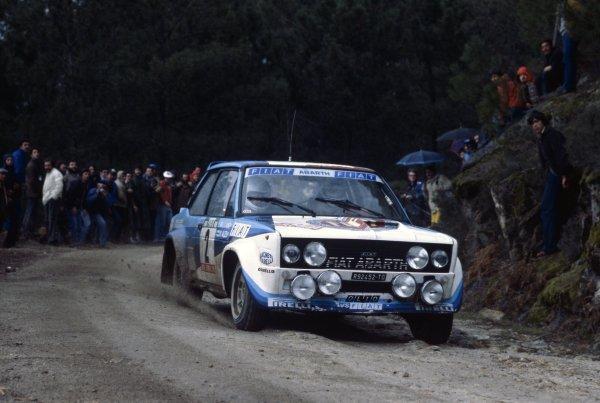 1980 World Rally Championship.Portuguese Rally, Portugal. 4-9 March 1980.Markku Alen/Ilkka Kivimaki (Fiat 131 Abarth), 2nd position.World Copyright: LAT PhotographicRef: 35mm transparency 80RALLY03