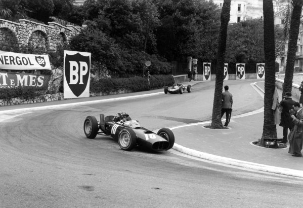 1962 Monaco Grand Prix.Monte Carlo, Monaco. 31 May-3 June 1962.Graham Hill (BRM P57) leads Jim Clark (Lotus 25-Climax) into the Old Station Hairpin. Hill finished in 6th position.World Copyright: LAT PhotographicRef: Autosport b&w print