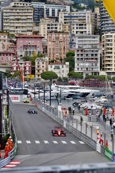 Charles Leclerc, Ferrari SF21, leads Esteban Ocon, Alpine A521