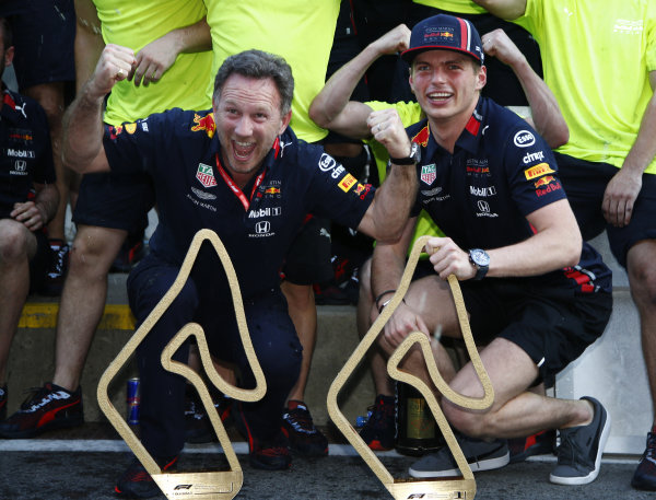 Christian Horner and Max Verstappen, Red Bull Racing celebrates with the team after their race win.