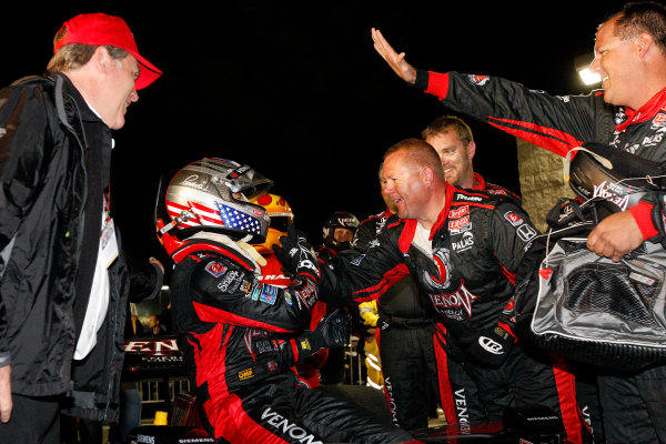 24-25 June, 2011, Newton, Iowa USAMarco Andretti is greeted by his crew in Victory Lane(c)2011, Dan StreckLAT Photo USA
