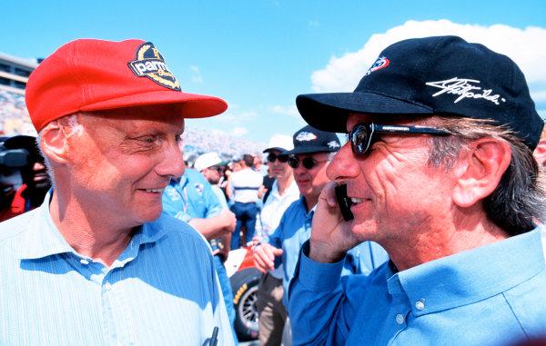 1999 CART MIAMI GP, 21-3-99, Homestead, FL, USANiki Lauda enjoys a moment on the grid with Emerson Fittipaldi.-1999, Michael L. Levitt, USA 248-399-3371LAT PHOTOGRAPHIC
