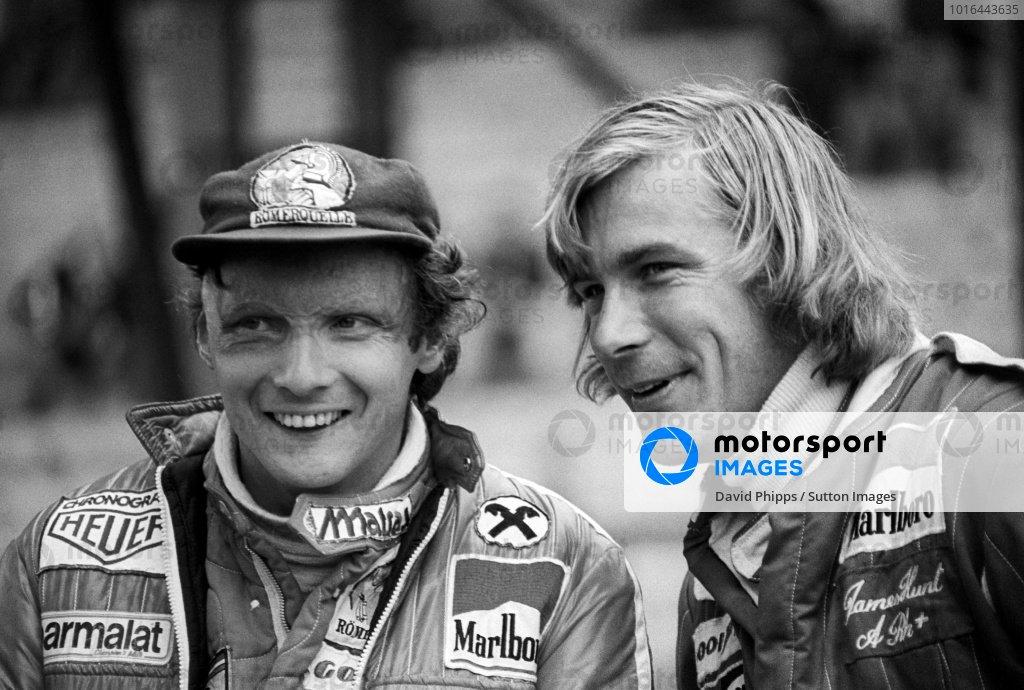 (L to R): Second placed Niki Lauda (AUT) Ferrari, talks with seventh placed James Hunt (GBR) McLaren. Belgian Grand Prix, Rd 7, Zolder, Belgium, 5 June 1977.