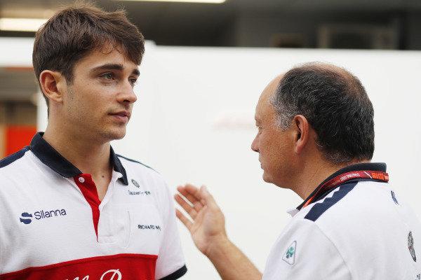 Charles Leclerc, Sauber, talks with Frederic Vasseur, Alfa Romeo Sauber F1 Team, Team Principal.