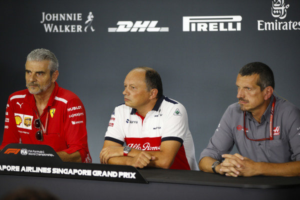 Maurizio Arrivabene, Team Principal, Ferrari, Frederic Vasseur, Team Principal, Sauber, and Guenther Steiner, Team Principal, Haas F1, in the Friday press conference.