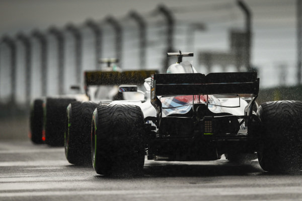 Lance Stroll, Williams FW41 Mercedes on intermediate tyres.