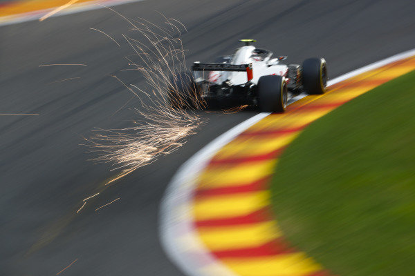 Kevin Magnussen, Haas F1 Team VF-18, strikes up sparks.
