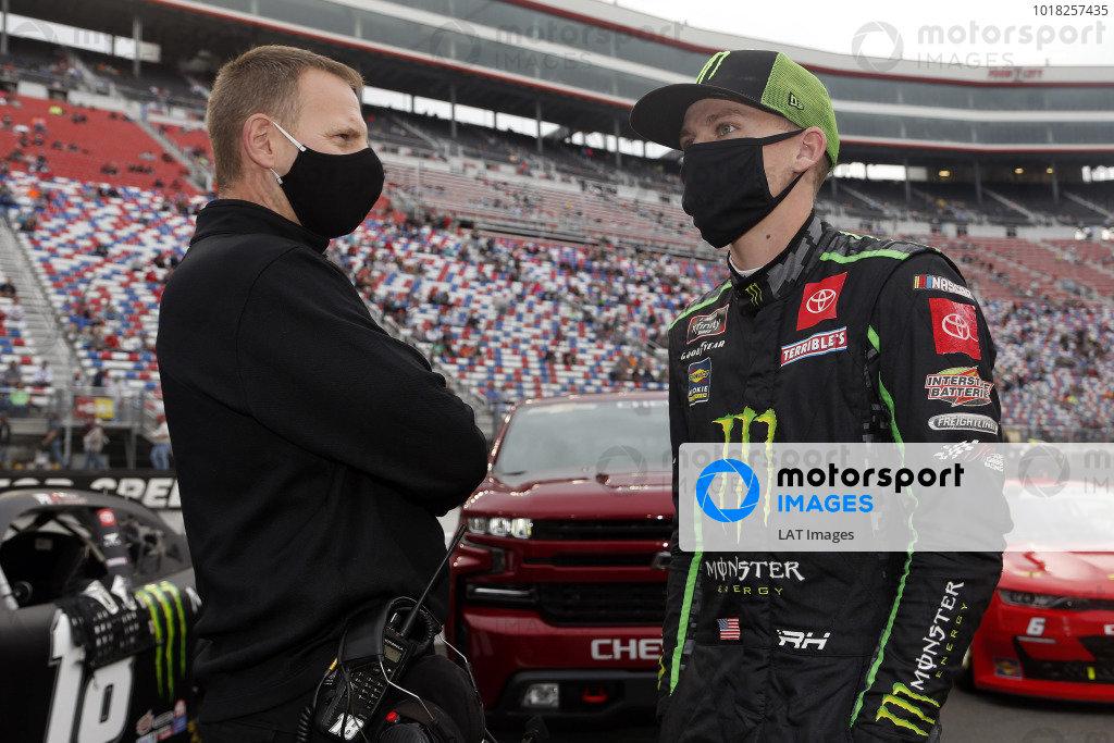 #18: Riley Herbst, Joe Gibbs Racing, Toyota Supra Monster Energy and Dave Rogers